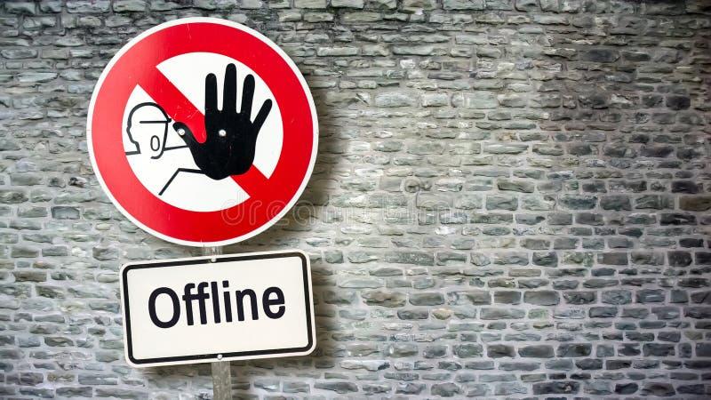 Σημάδι οδών on-line εναντίον off-$l*line απεικόνιση αποθεμάτων