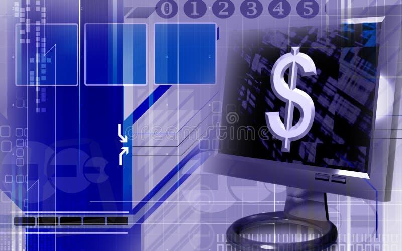 σημάδι οθόνης δολαρίων υπολογιστών απεικόνιση αποθεμάτων