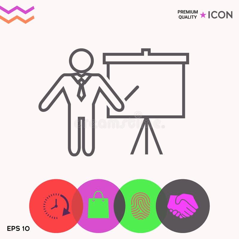 Σημάδι παρουσίασης - εικονίδιο γραμμών Άτομο που στέκεται με το δείκτη κοντά στο διάγραμμα κτυπήματος Κενό κενό σύμβολο πινάκων δ διανυσματική απεικόνιση