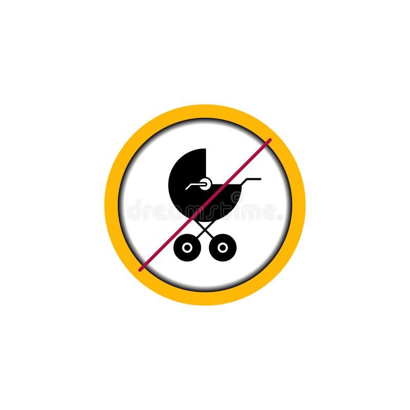 Σημάδι πιάτων κανένας κύκλος μεταφορών μωρών απεικόνιση αποθεμάτων