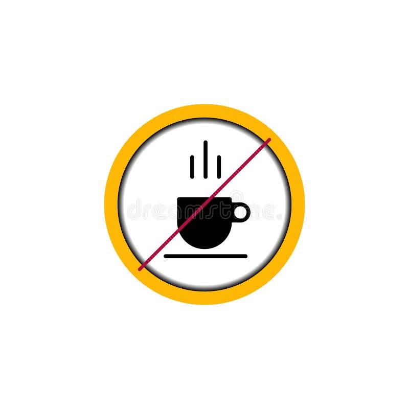 Σημάδι πιάτων κανένας κύκλος φλυτζανιών καφέ απεικόνιση αποθεμάτων