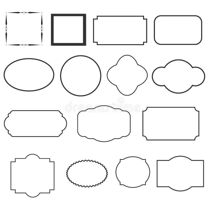 Σύνολο διακοσμητικών εκλεκτής ποιότητας πλαισίων σύνολο μαύρων στρογγυλών και τετραγωνικών εκλεκτής ποιότητας πλαισίων διανυσματική απεικόνιση