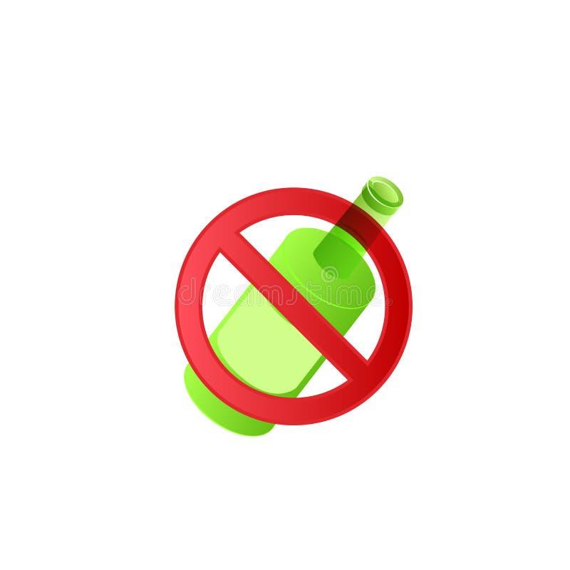 Σημάδι που απαγορεύει για να πιωθούν τα οινοπνευματώδη ποτά απεικόνιση αποθεμάτων