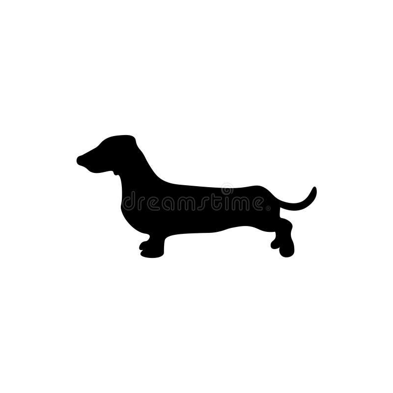 Σημάδι σκιαγραφιών σκυλιών dachshund ελεύθερη απεικόνιση δικαιώματος