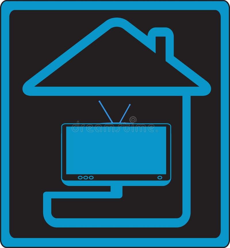 σημάδι σπιτιών στη TV διανυσματική απεικόνιση