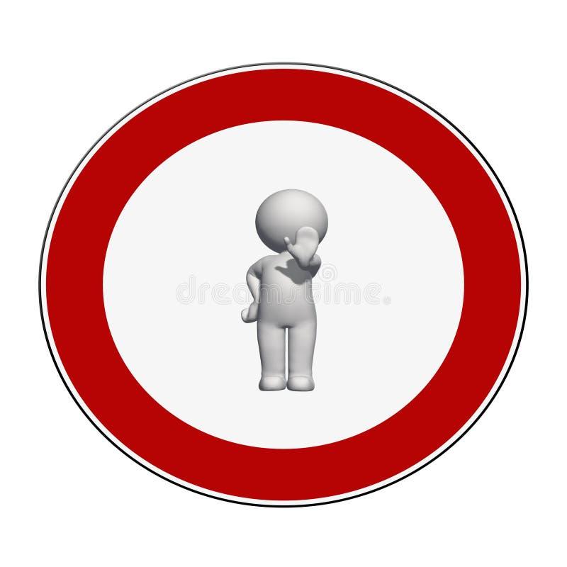 Σημάδι στάσεων - το λευκό τρισδιάστατο άτομο στο σημάδι στάσεων παρουσιάζει σήμα στάσεων ελεύθερη απεικόνιση δικαιώματος