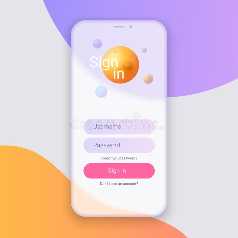 Σημάδι στην οθόνη Καθαρή κινητή έννοια σχεδίου UI Εφαρμογή σύνδεσης με το παράθυρο μορφής κωδικού πρόσβασης Καθιερώνουσες τη μόδα ελεύθερη απεικόνιση δικαιώματος