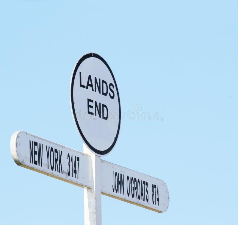 Σημάδι στην περιοχή τελών εδάφους ` s, Κορνουάλλη, Αγγλία, Ηνωμένο Βασίλειο στοκ φωτογραφίες