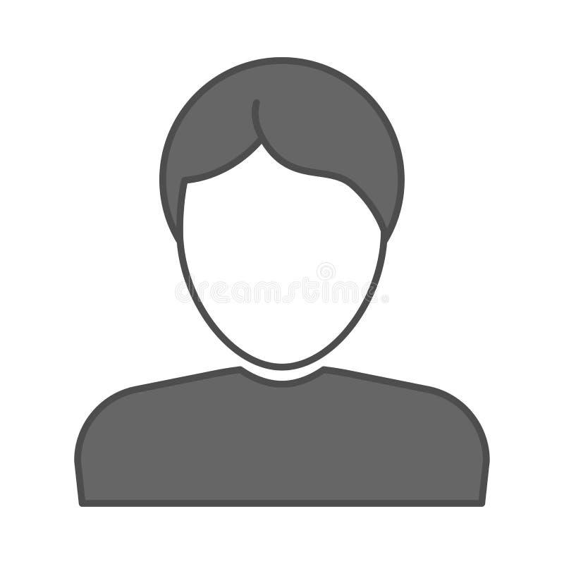 Σημάδι σχεδιαγράμματος σκιαγραφιών επιχειρησιακών ατόμων Διανυσματικό αρσενικό επίπεδο εικονίδιο Κεφάλι ατόμων και πρόσωπο, είδωλ απεικόνιση αποθεμάτων