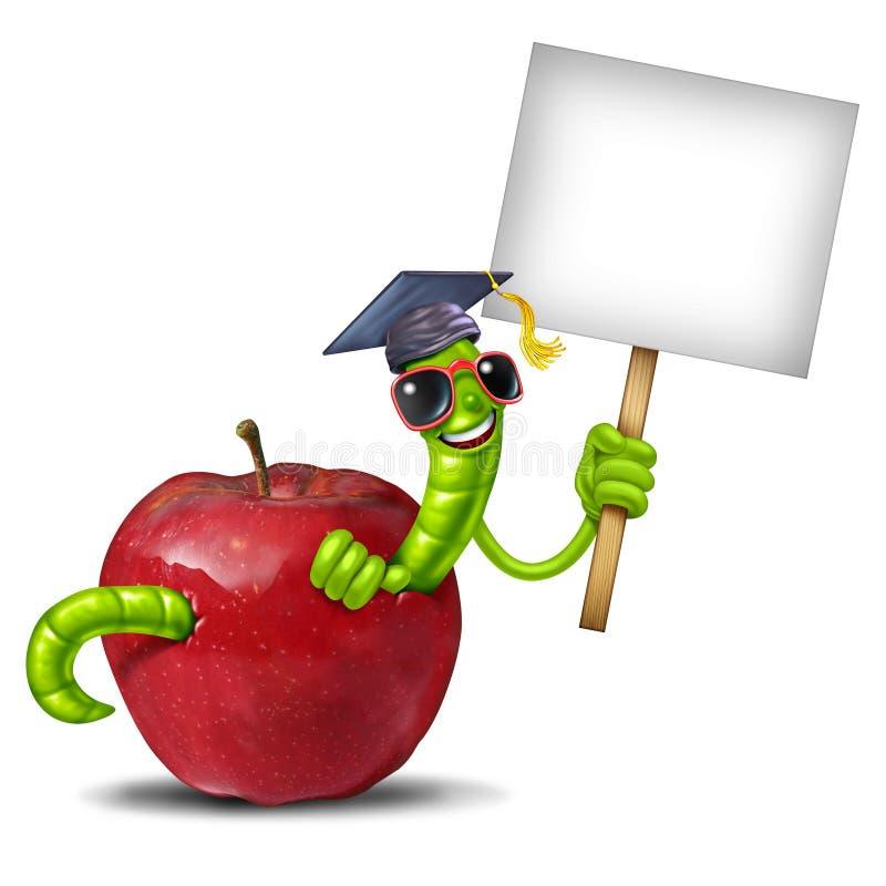 Σημάδι σχολικών σκουληκιών απεικόνιση αποθεμάτων