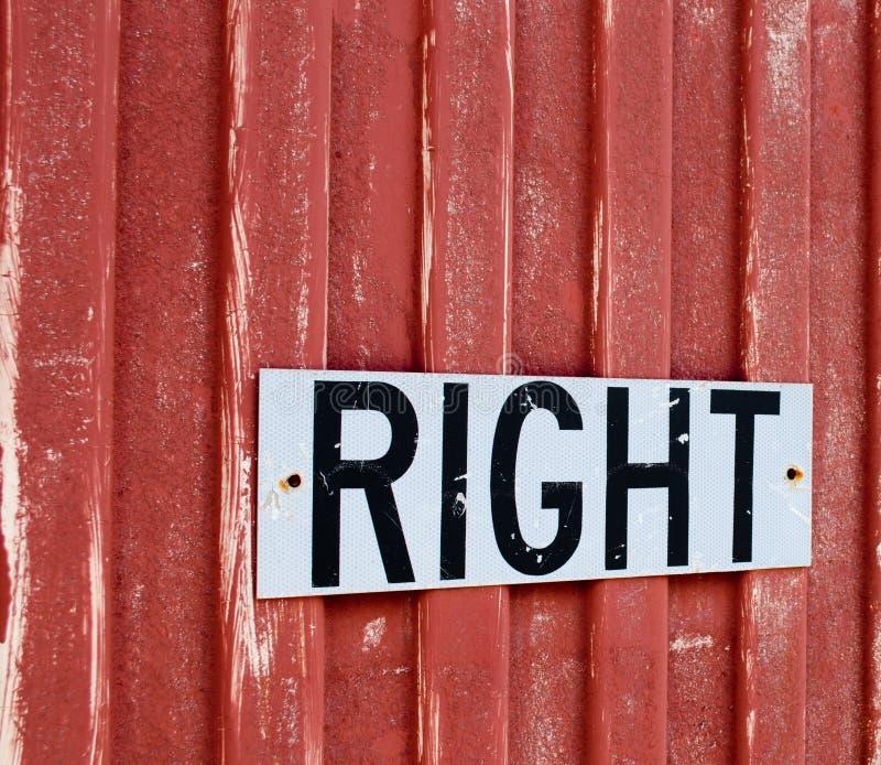 Σημάδι ` σωστό ` στοκ εικόνες