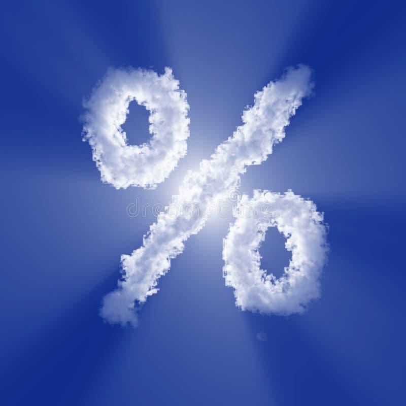 Σημάδι σύννεφων τοις εκατό με το φως όγκου στο μπλε ουρανό και τον ήλιο o ελεύθερη απεικόνιση δικαιώματος
