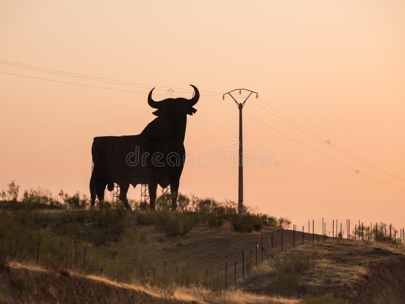 Σημάδι ταύρων της Ισπανίας στον αυτοκινητόδρομο στοκ φωτογραφίες