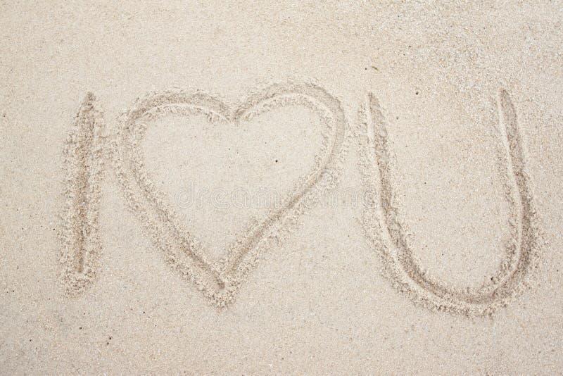 Σημάδι της θάλασσας αγάπης Ι στην παραλία άμμου στοκ εικόνες με δικαίωμα ελεύθερης χρήσης