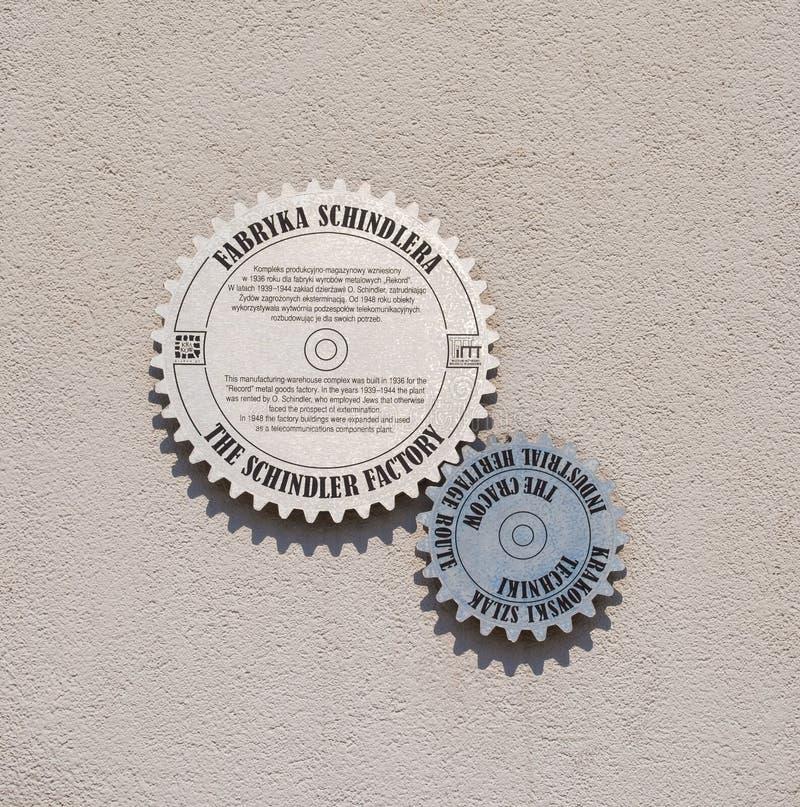 Σημάδι τοίχων έξω από το εργοστάσιο Schindler στοκ φωτογραφία