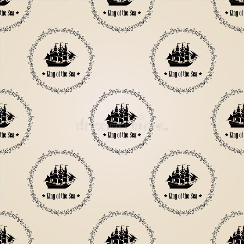 Σημάδι του βασιλιά της θάλασσας άνευ ραφής διάνυσμα προτύπ&omeg ελεύθερη απεικόνιση δικαιώματος