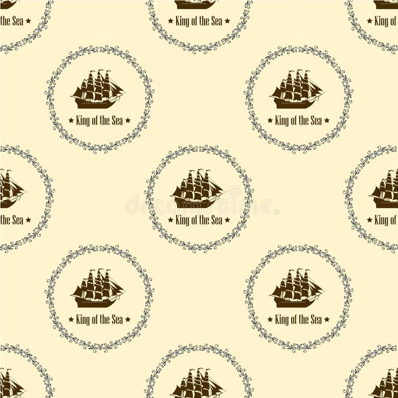 Σημάδι του βασιλιά της θάλασσας άνευ ραφής διάνυσμα προτύπ&omeg διανυσματική απεικόνιση