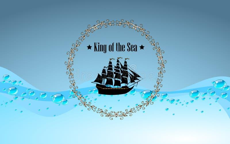 Σημάδι του βασιλιά της θάλασσας απεικόνιση αποθεμάτων