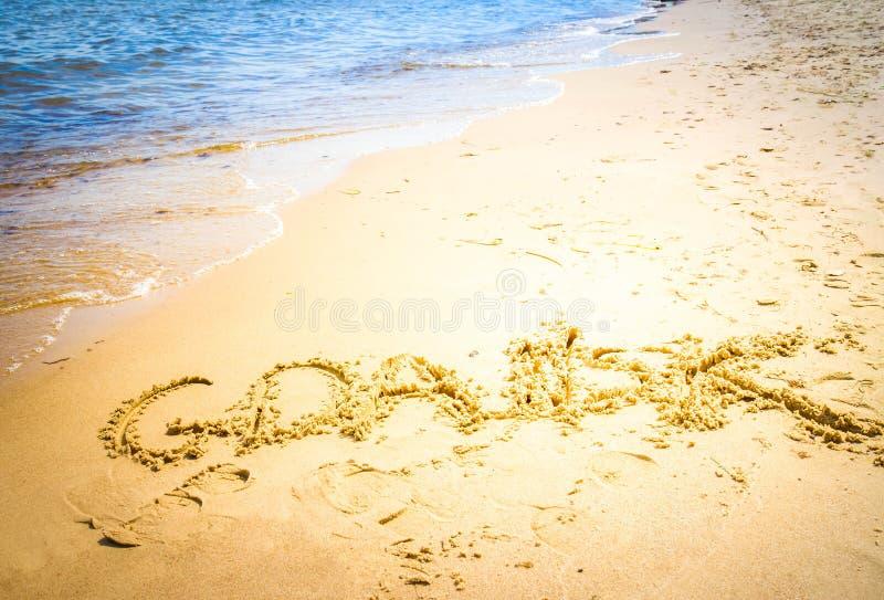 Σημάδι του Γντανσκ στην παραλία στοκ φωτογραφία