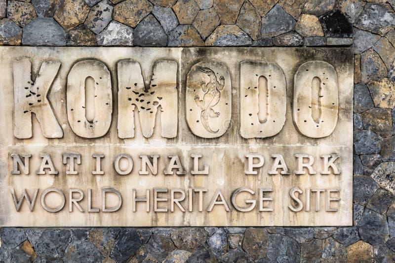 Σημάδι του εθνικού πάρκου Komodo, Ινδονησία στοκ εικόνα με δικαίωμα ελεύθερης χρήσης