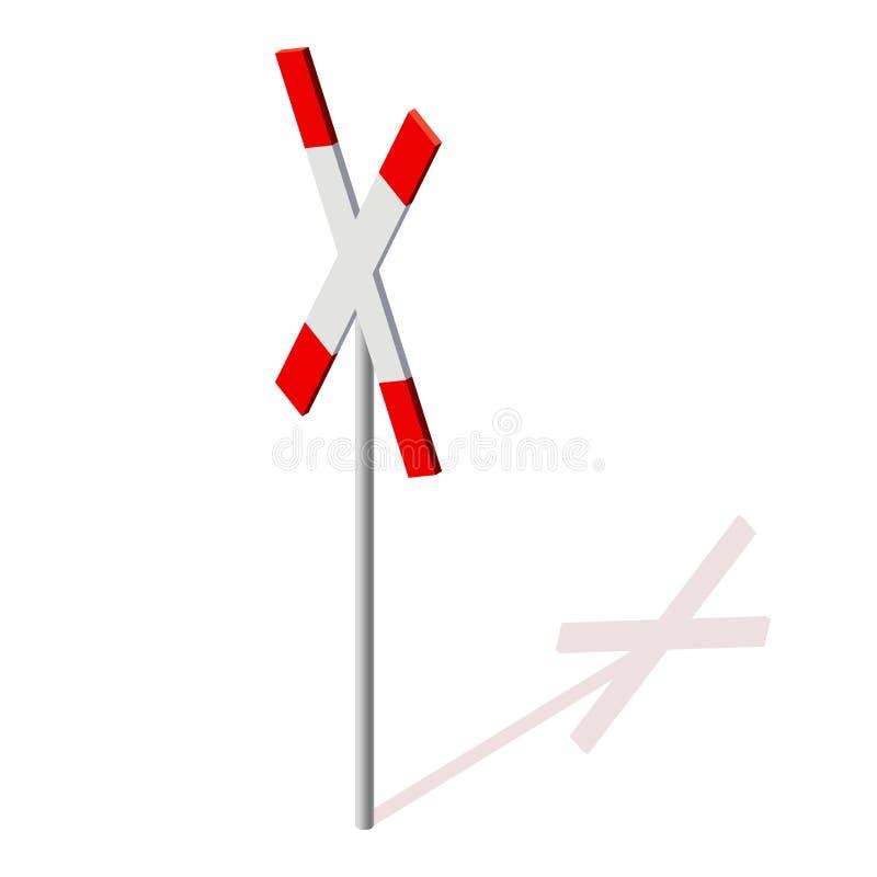 Σημάδι του σταυρού σιδηροδρόμων Απαγόρευση του σιδηροδρόμου διανυσματική απεικόνιση