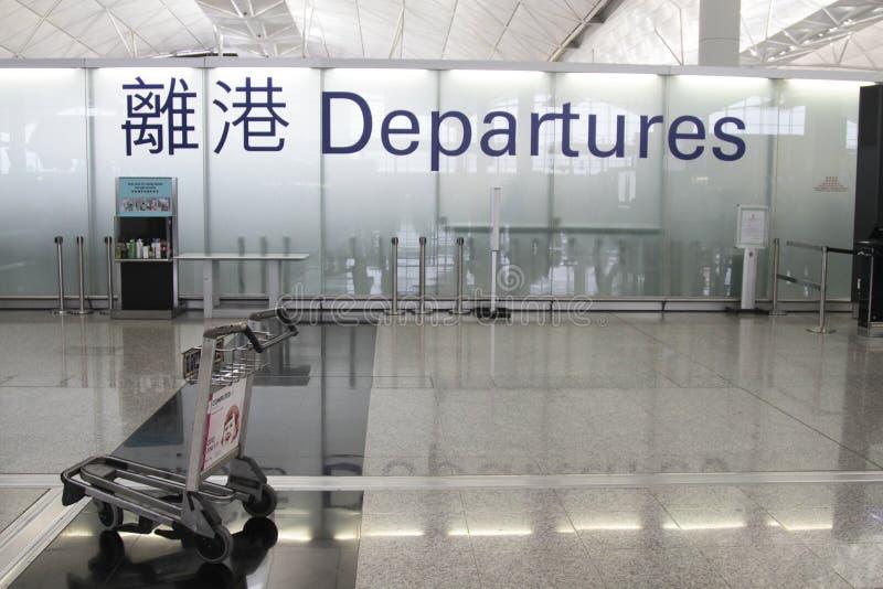 σημάδι του Χογκ Κογκ αναχώρησης αερολιμένων στοκ φωτογραφία