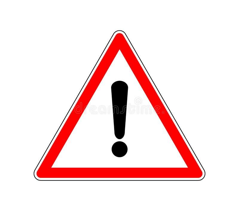 Σημάδι τριγώνων παραγωγής - σύμβολο συντονισμού οδικής κυκλοφορίας Προσοχή προειδοποίησης οδικών σημαδιών με ένα σημάδι θαυμαστικ διανυσματική απεικόνιση