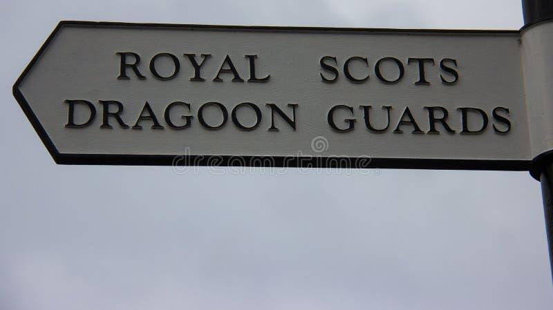 Σημάδι των βασιλικών σκωτσέζικων φρουρών Dragoon στοκ φωτογραφία με δικαίωμα ελεύθερης χρήσης