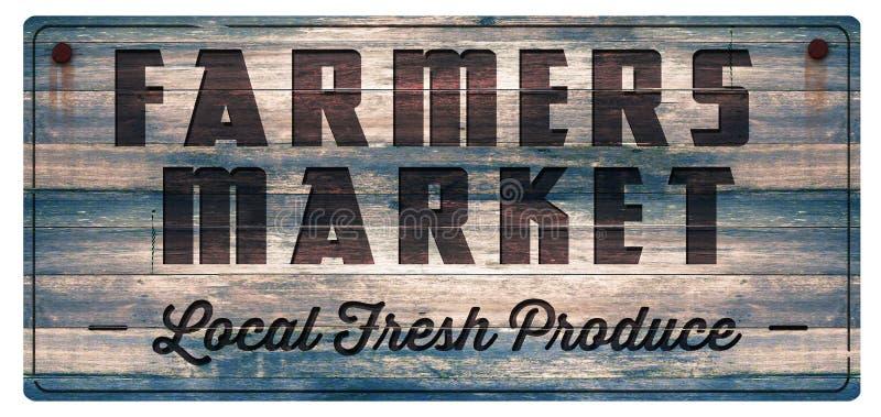 Σημάδι φρέσκων προϊόντων αγοράς αγροτών απεικόνιση αποθεμάτων