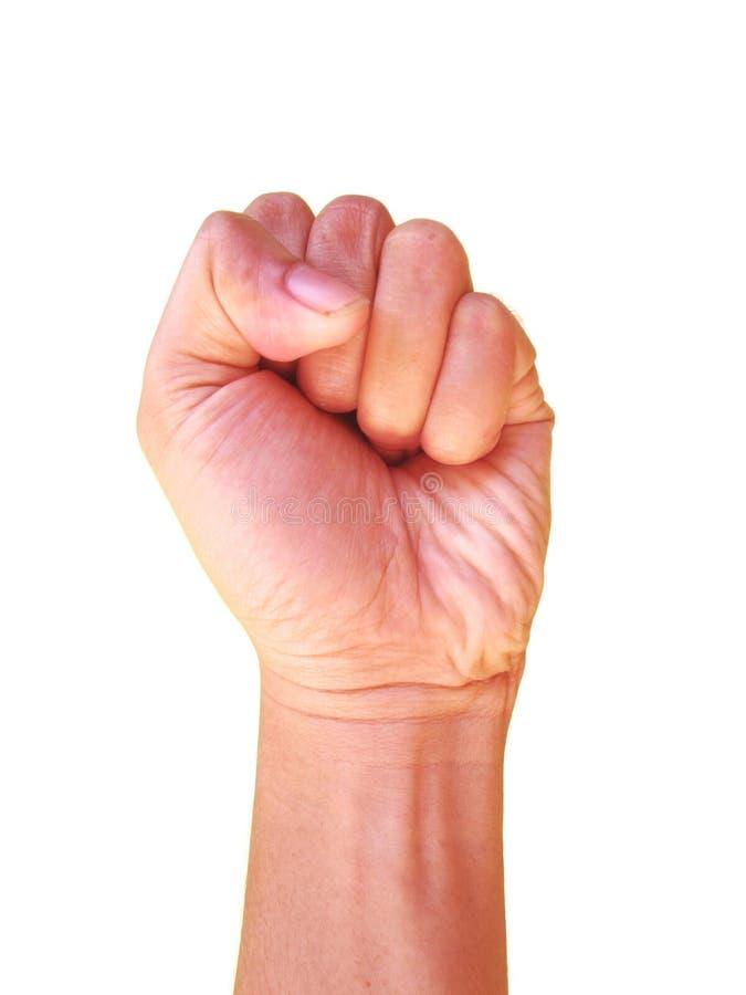Σημάδι χεριών, επανάσταση, χέρι που σφίγγεται πρός τα πάνω στοκ φωτογραφία