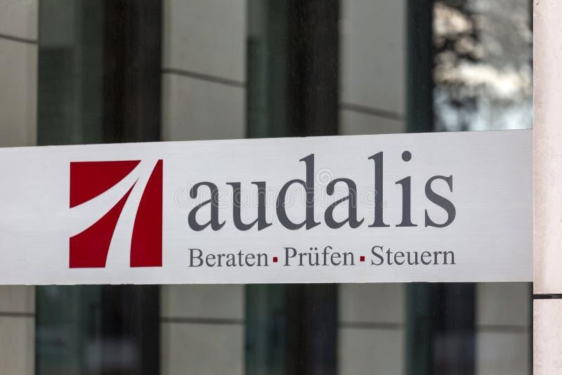 Σημάδι Audalis στην Κολωνία Γερμανία στοκ φωτογραφία