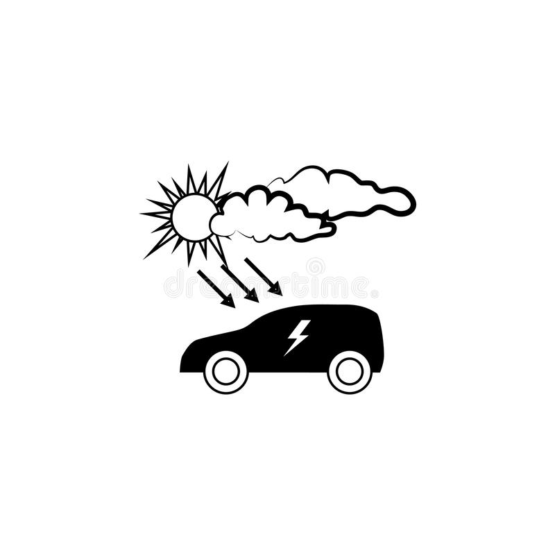 Σημάδι Electrocar Επαναφόρτιση του αυτοκινήτου από τη ηλιακή ενέργεια διανυσματική απεικόνιση