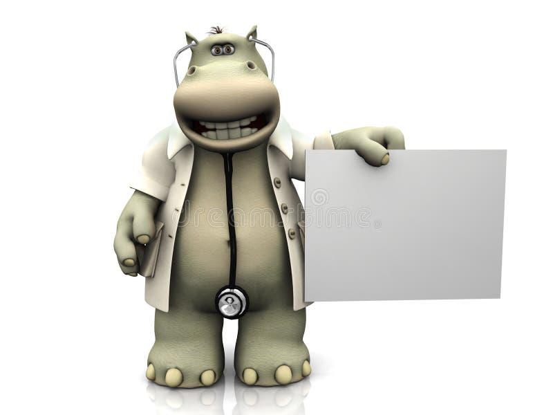 σημάδι hippo γιατρών κινούμενων  απεικόνιση αποθεμάτων