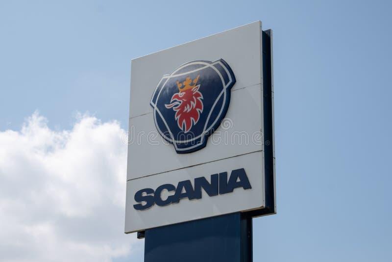 Σημάδι SCANIA - τοπίο στοκ φωτογραφίες