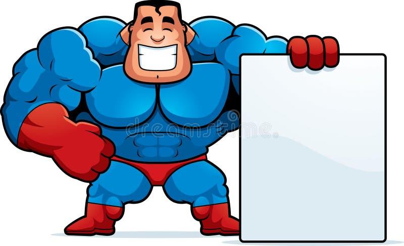 Σημάδι Superhero κινούμενων σχεδίων διανυσματική απεικόνιση