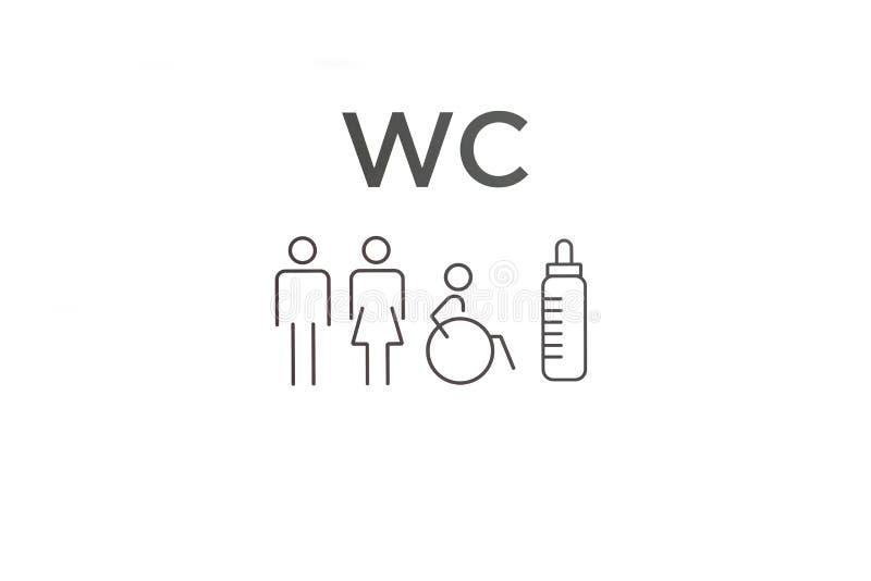 Σημάδι WC Σημάδι ή προσδιορισμός της τουαλέτας διανυσματική απεικόνιση