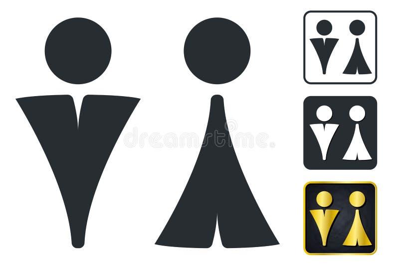 Σημάδι WC για το χώρο ανάπαυσης Εικονίδια πιάτων πορτών τουαλετών Άνδρες και γυναίκες Vec διανυσματική απεικόνιση