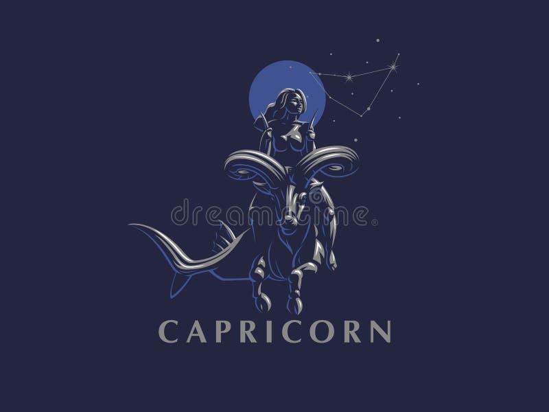 Σημάδι zodiac Αιγόκερος Μια γυναίκα που οδηγά ένα άλογο σε Αιγόκερο διανυσματική απεικόνιση