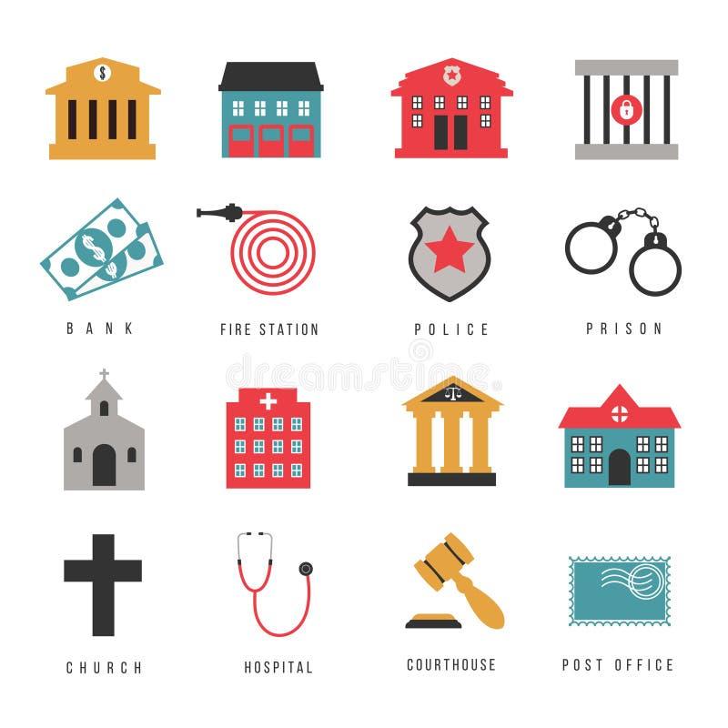 Σημάδια αιθουσών δημοτικής κυβέρνησης και επίπεδα εικονίδια κτηρίων διανυσματική απεικόνιση