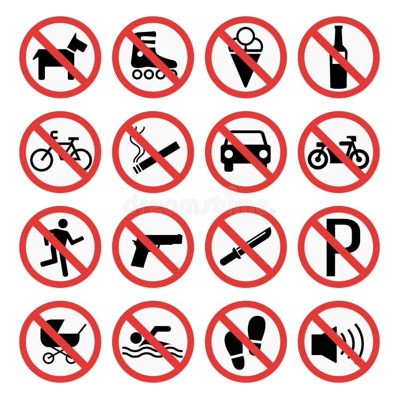 Σημάδια απαγόρευσης καθορισμένα τις πληροφορίες ασφάλειας τη διανυσματική απεικόνιση απεικόνιση αποθεμάτων