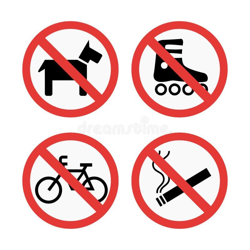 Σημάδια απαγόρευσης καθορισμένα τις πληροφορίες ασφάλειας τη διανυσματική απεικόνιση διανυσματική απεικόνιση