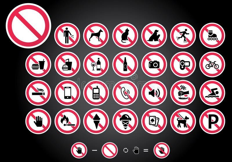 Σημάδια απαγόρευσης - σύνολο 1 απεικόνιση αποθεμάτων