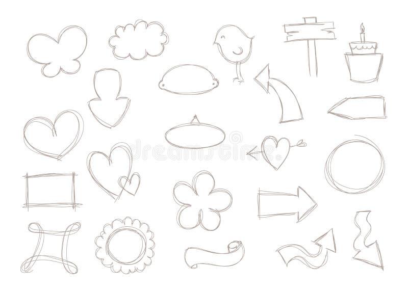 Σημάδια και μορφές Doodle διανυσματική απεικόνιση