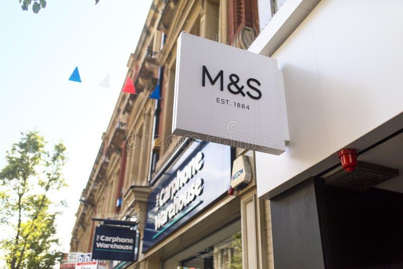 Σημάδια & Spencer, M&S, Doncaster, Αγγλία, Ηνωμένο Βασίλειο, κατάστημα ε στοκ φωτογραφία με δικαίωμα ελεύθερης χρήσης