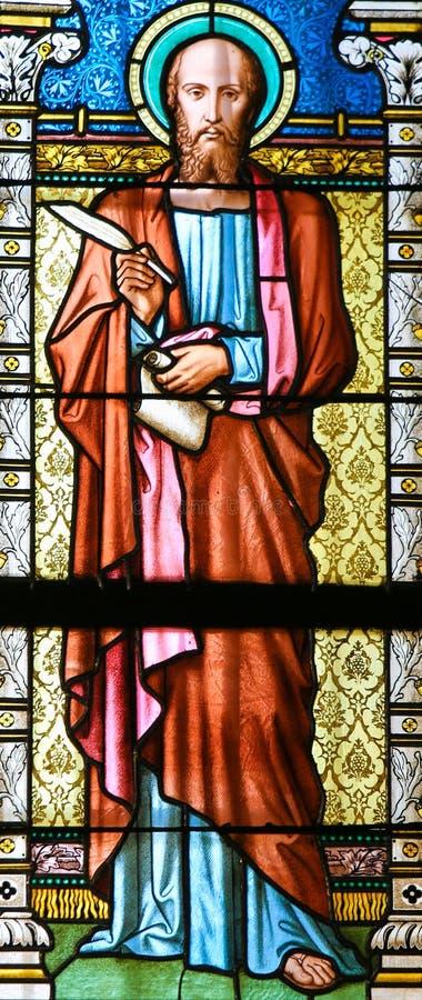 Σημάδι Αγίου ο Ευαγγελιστής - λεκιασμένο γυαλί στοκ εικόνες με δικαίωμα ελεύθερης χρήσης