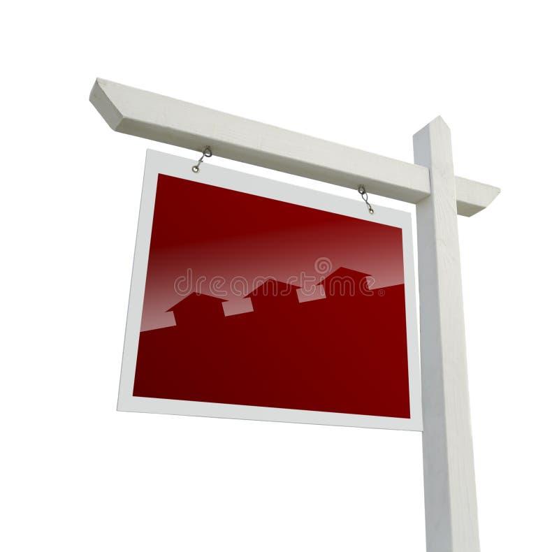Σημάδι ακίνητων περιουσιών με τη σκιαγραφία σπιτιών με το ψαλίδισμα της πορείας στοκ εικόνα