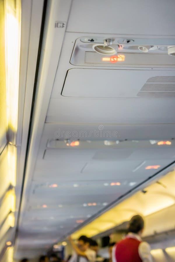 Σημάδι απαγόρευσης του καπνίσματος στο αεροπλάνο στοκ φωτογραφία