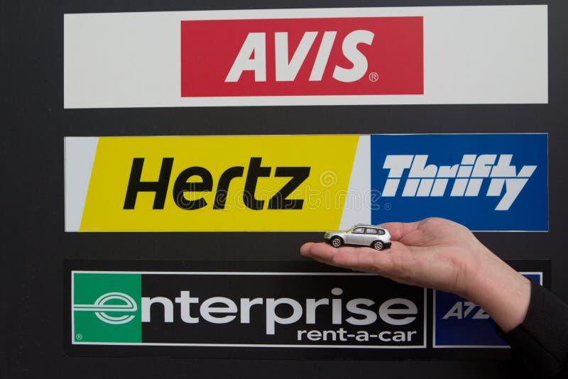 Σημάδι αυτοκινήτων ενοικίου στοκ εικόνα