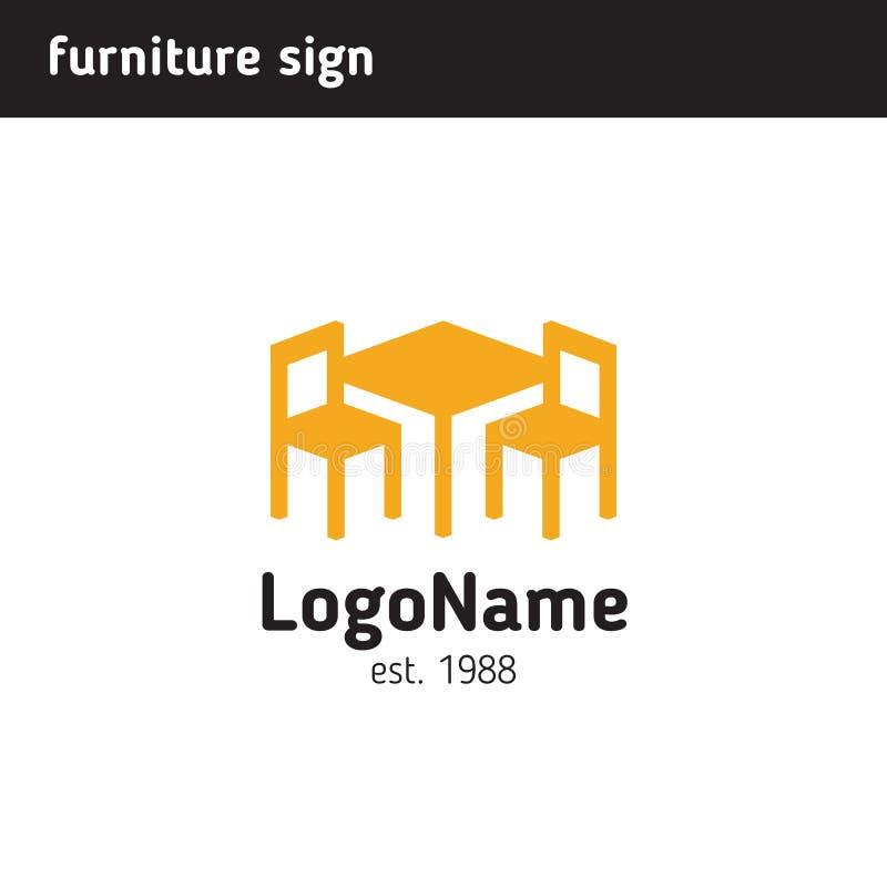 Σημάδι για μια επιχείρηση επίπλων, πίνακα και δύο καρέκλες ελεύθερη απεικόνιση δικαιώματος