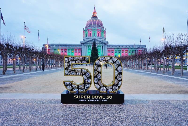 Σημάδι για το έξοχο κύπελλο 50 2016 NFL που κρατιέται στο Bay Area του Σαν Φρανσίσκο στοκ εικόνες